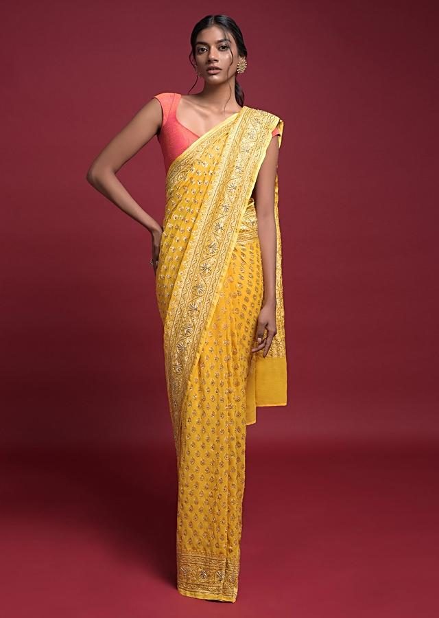 Sun Yellow Banarasi Saree In Georgette With Weaved Buttis Along With Kundan Work Online - Kalki Fashion