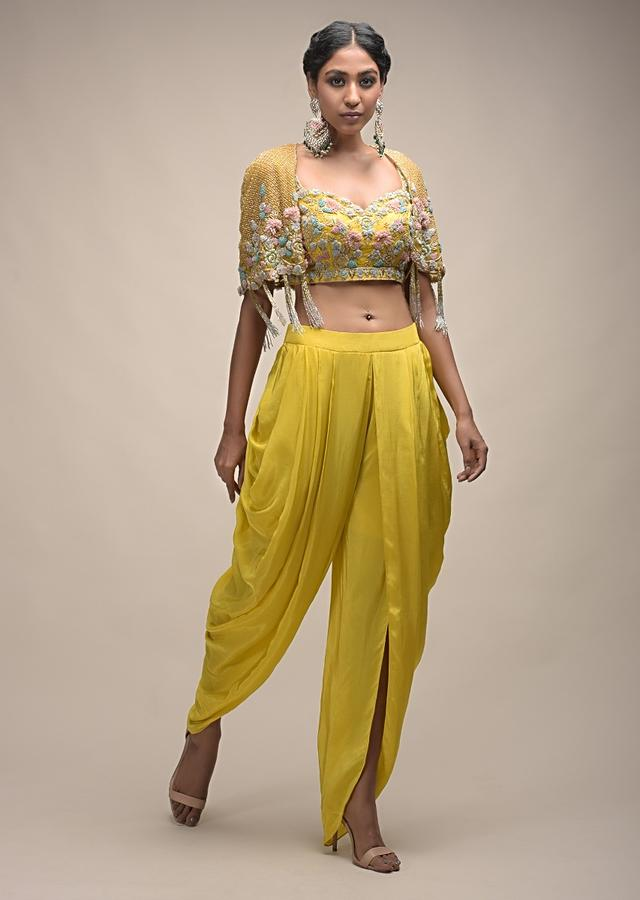 Sun Yellow Dhoti Suit With 3D Organza Flower Embellished Crop Top And Short Cape Online - Kalki Fashion