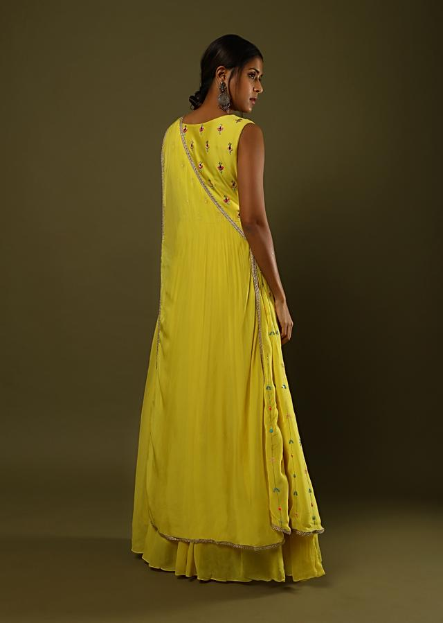 Sun Yellow Gown Dress In Crushed Georgette With Colorful Sequin And Mirror Embroidery And An Organza Drape Online - Kalki Fashion