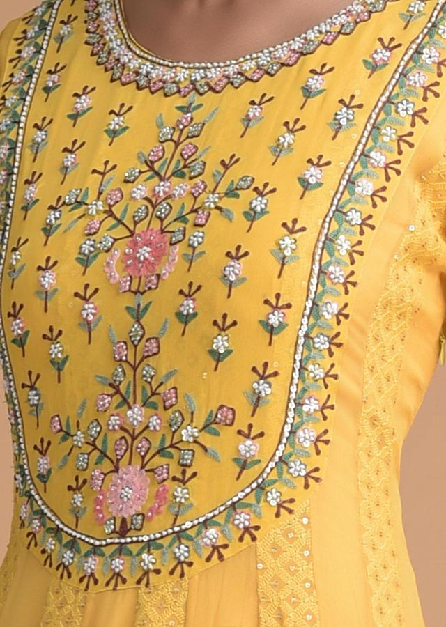 Sun Yellow Indowestern Gown With Lucknowi Work And Floral Embroidery Online - Kalki Fashion