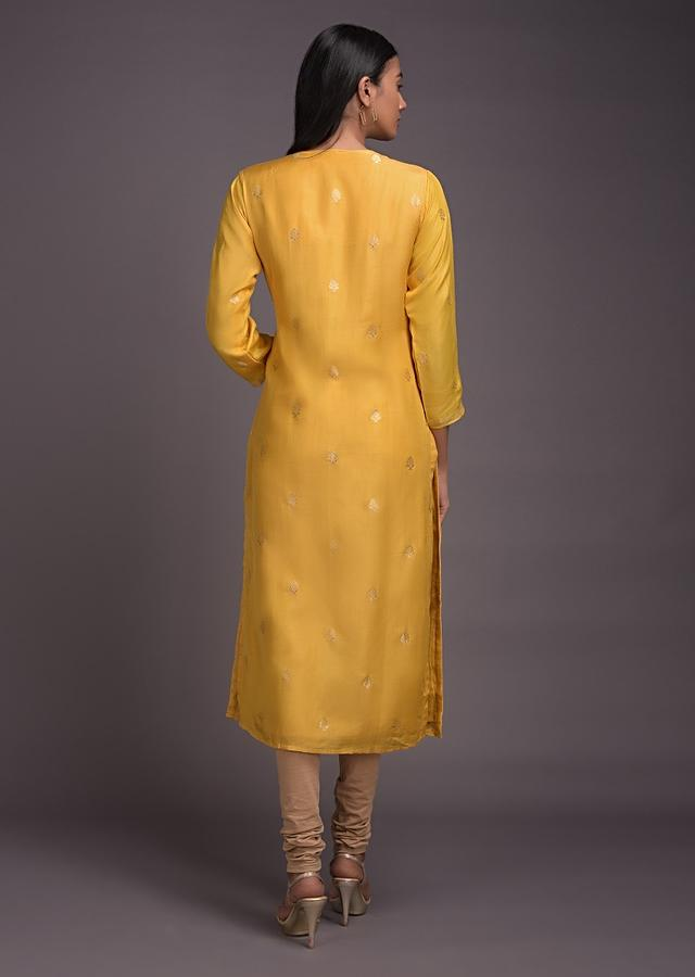 Sun Yellow Kurti In Cotton With Gotta Work And Weaved Buttis Online - Kalki Fashion