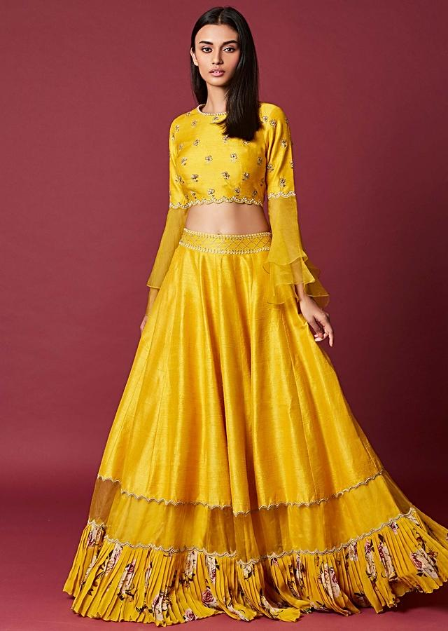 Sun Yellow Lehenga Choli With Floral Printed Tier And Embroidery Work