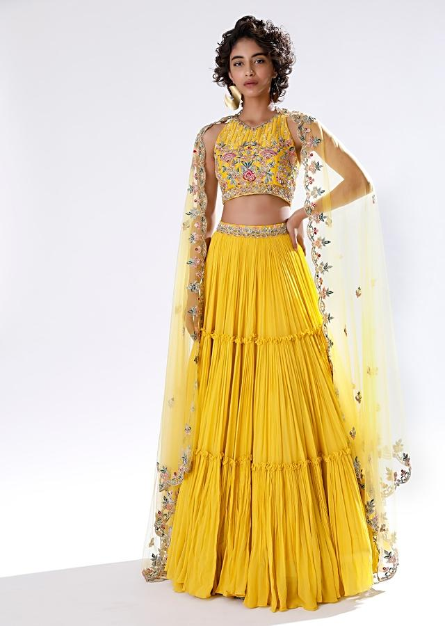 Sun Yellow Lehenga In Crushed Georgette With Halter Neck Crop Top Adorned In Colorful Resham And Cut Dana Work Online - Kalki Fashion