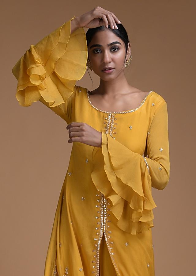 Sun Yellow Palazzo Suit In In Crepe With Off White Frill Layers On The Hemline Online - Kalki Fashion