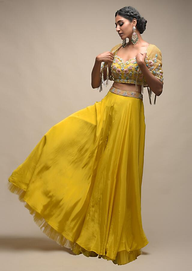Sun Yellow Palazzo Suit With 3D Organza Flower Embellished Crop Top And Short Cape Online - Kalki Fashion