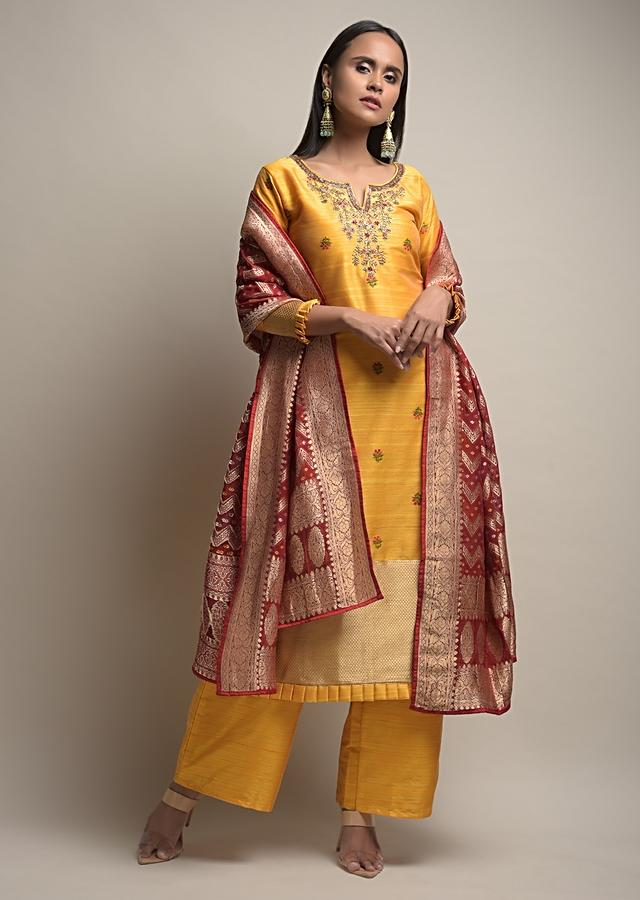 Sun Yellow Palazzo Suit With Woven Floral Buttis And Red Dupatta With Bandhani And Brocade Design Online - Kalki Fashion