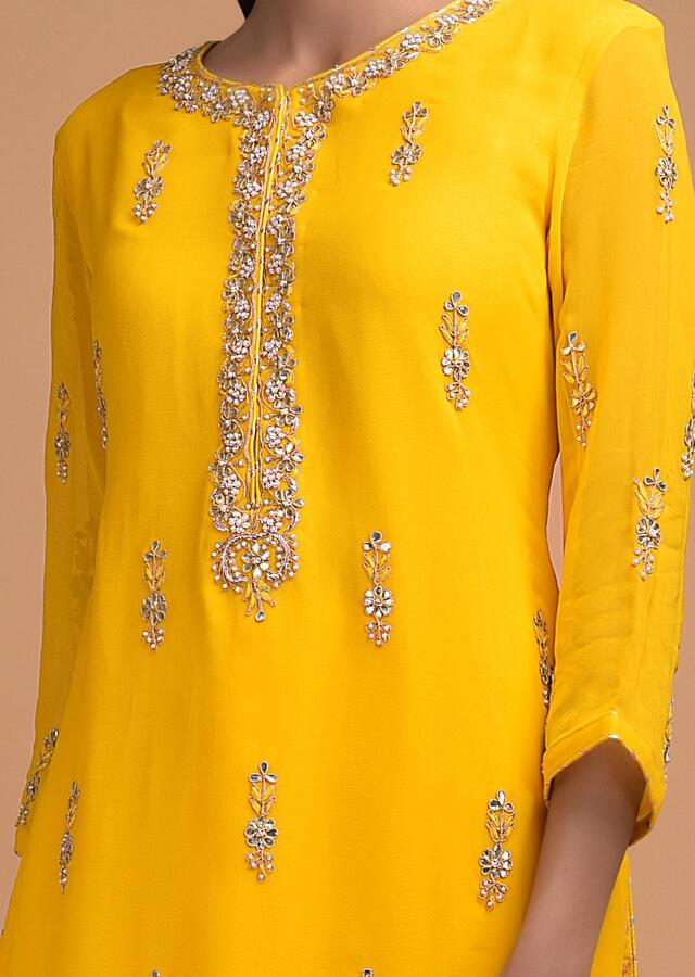Sun Yellow Salwar Suit Enhanced With Gotta Patch Work In Floral Pattern Online - Kalki Fashion