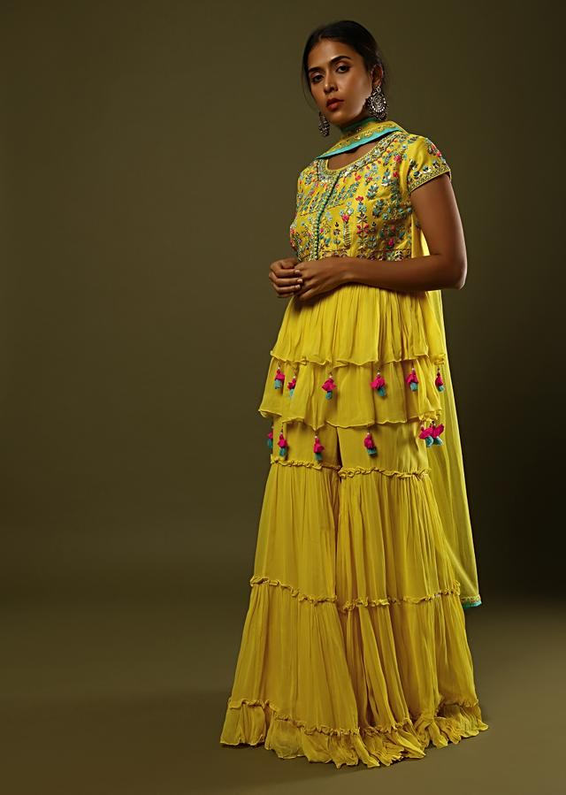 Sun Yellow Sharara And Peplum Suit In Crushed Georgette With Colorful Sequin And Mirror Embroidery Along With Fancy Tassels Online - Kalki Fashion