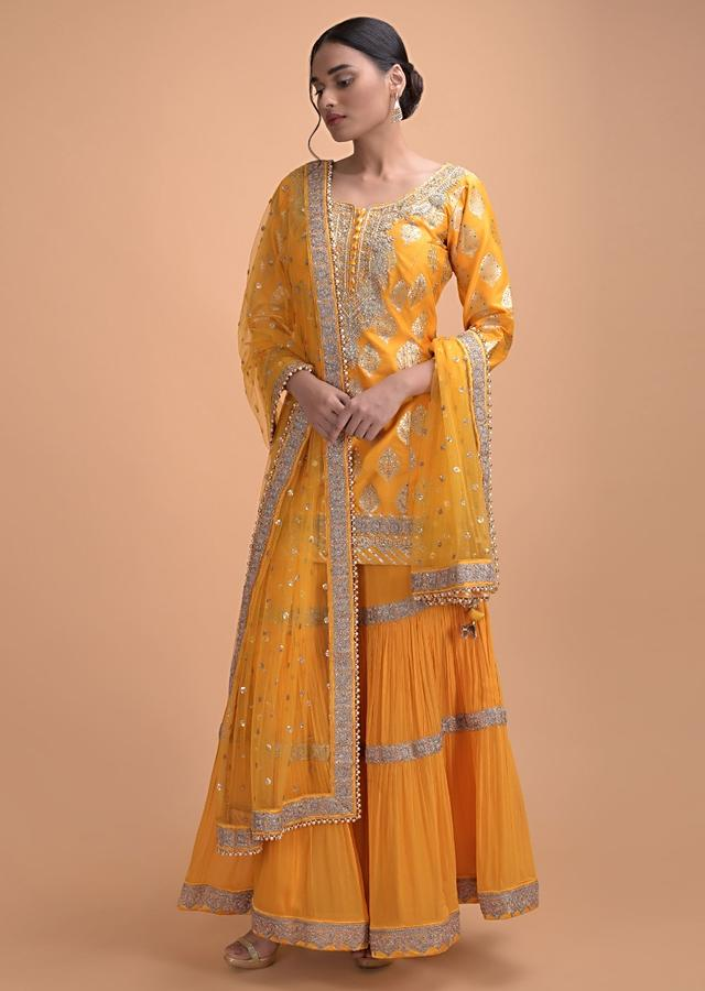Sun Yellow Sharara Suit With Brocade And Embroidery Work Online - Kalki Fashion