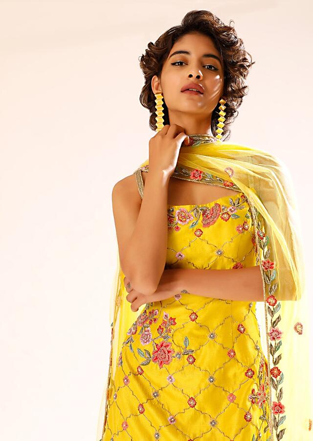 Sun Yellow Sharara Suit With Colorful Resham And Cut Dana Embroidered Floral And Moroccan Motifs Online - Kalki Fashion