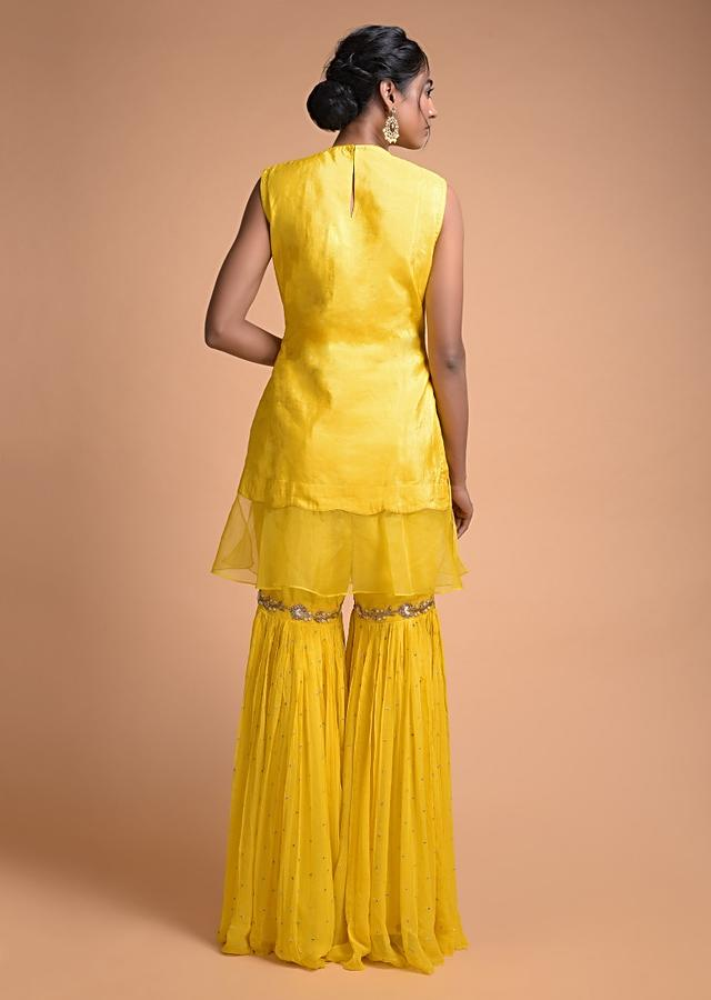 Sun Yellow Sharara Suit With Organza Frill On The Hem And Floral Embroidery Online - Kalki Fashion