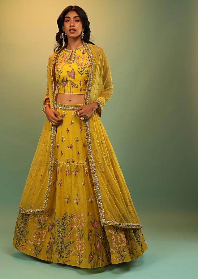 Sun Yellow Skirt And Crop Top With Multi Colored Resham And Sequins Embroidered Botanical Motifs Online - Kalki Fashion