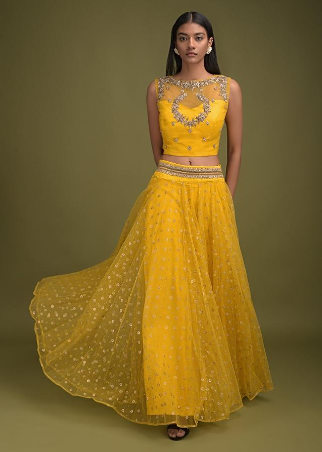 Sun Yellow Skirt In Net With Foil Printed Floral Buttis And Embroidered Crop Top Online - Kalki Fashion