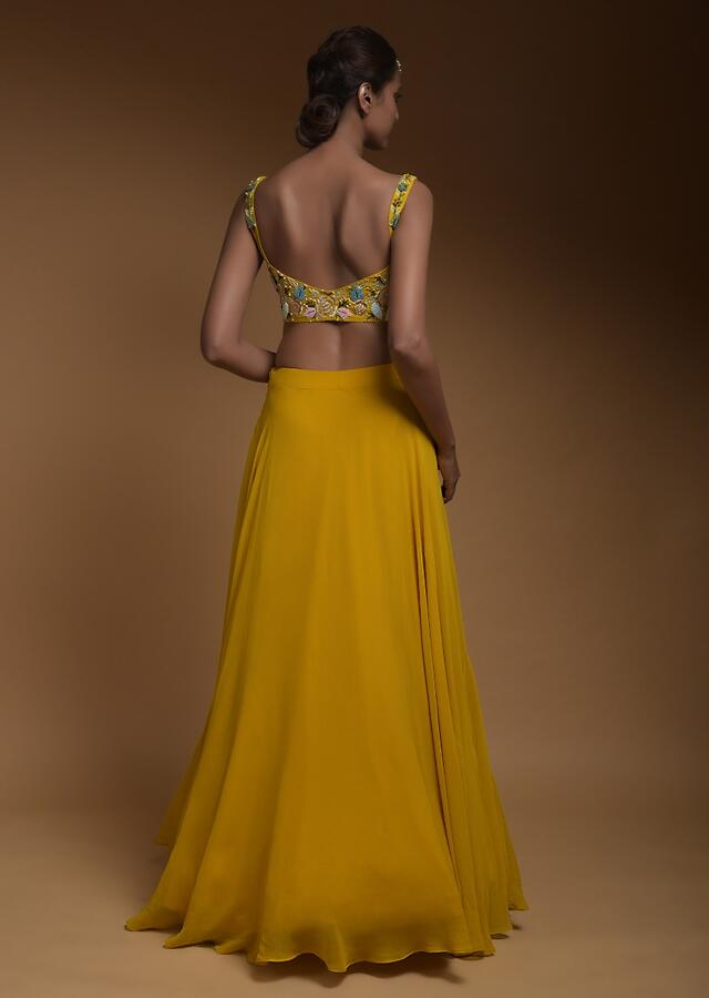 Sun Yellow Skirt, Crop Top And Jacket With 3D Flowers And Embossed Embroidery Online - Kalki Fashion