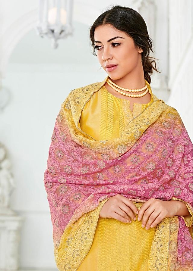 Sun Yellow Straight Cut Suit In Cotton With Lucknowi Work And Resham Embroidered Center Panel Online - Kalki Fashion