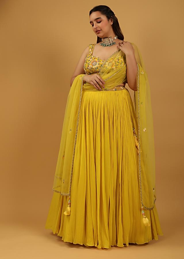 Sun Yellow Gathered Lehenga With Hand Embroidered Blouse Using Sequins And Cut Dana In Floral Motifs Online - Kalki Fashion