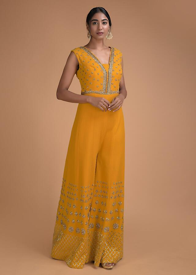 Sun Yellow Jumpsuit With Zardozi Embroidered Buttis And Geometric Pattern Online - Kalki Fashion