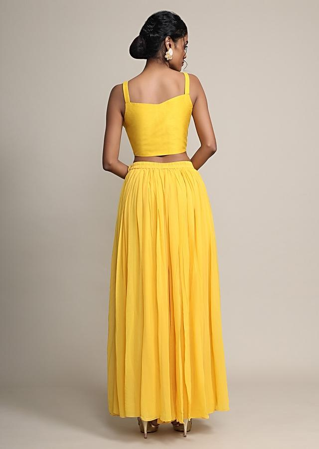 Sun Yellow Palazzo And Crop Top With Off White Long Jacket With Cowl Drape Online - Kalki Fashion