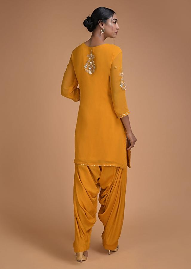 Sun Yellow Salwar Suit With Gotta Patch Embroidery In Floral Pattern Online - Kalki Fashion