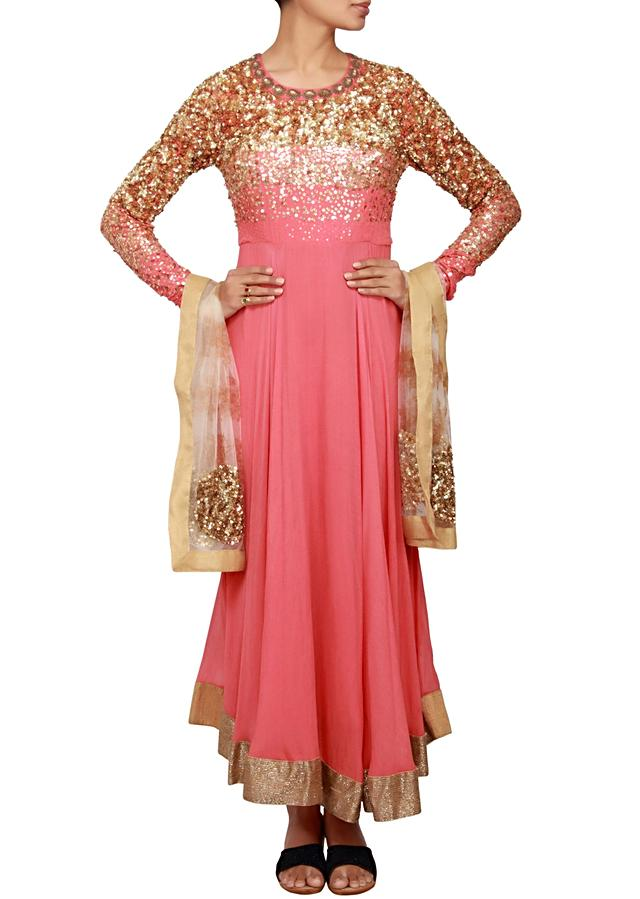 Sunkist coral anarkali in cotton silk and chiffon embellished in sequin and kardana only on Kalki