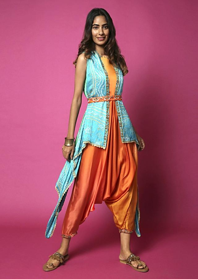 Sunset Orange Ombré Cowl Jumpsuit With Water Color Effect Paired With Lime And Aqua Blue Bandhani Jacket Online - Kalki Fashion