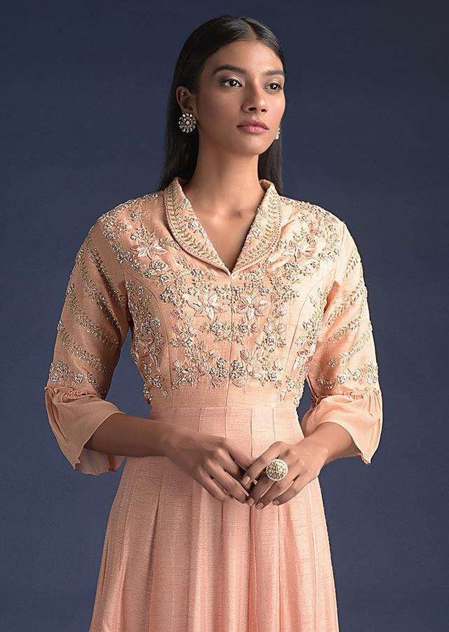 Sunset Peach Indowestern Gown In Cotton Silk With Tiered Hem And Collar Neckline Online - Kalki Fashion