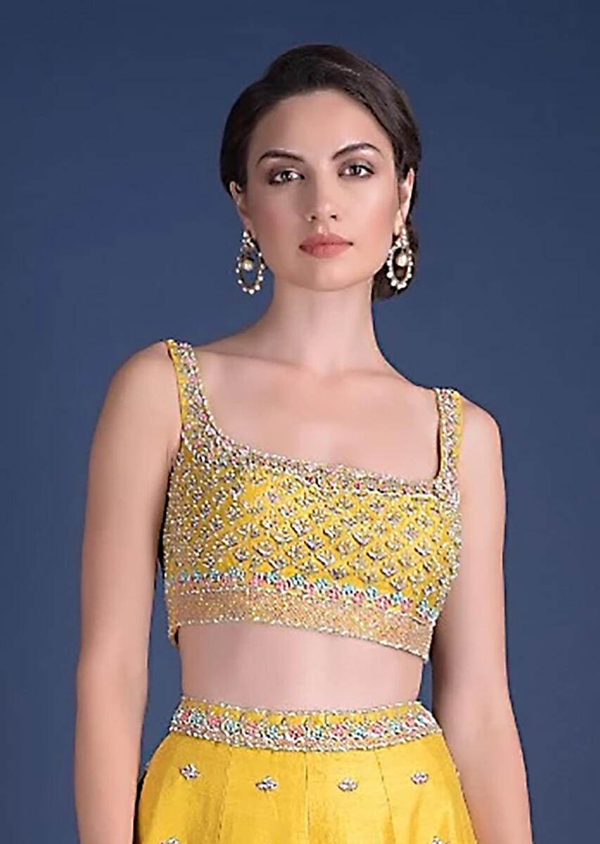 Sunset Yellow Blouse With Heavy Embossed Embroidery In Floral Butti Design  Online - Kalki Fashion