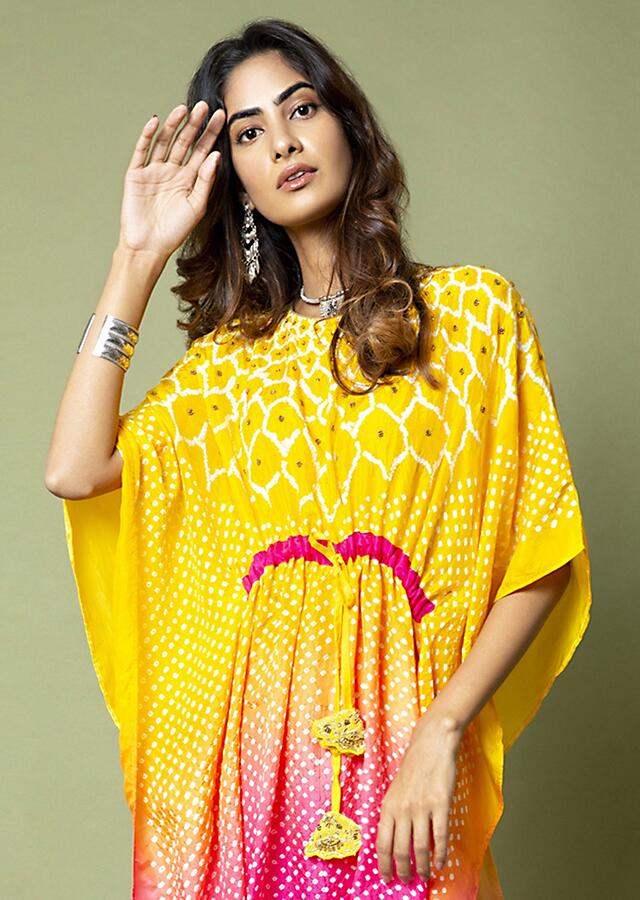 Sunshine Yellow And Hot Pink Ombré Kaftan And Straight Pants Set With Bandhani And Hand Embroidery Online - Kalki Fashion