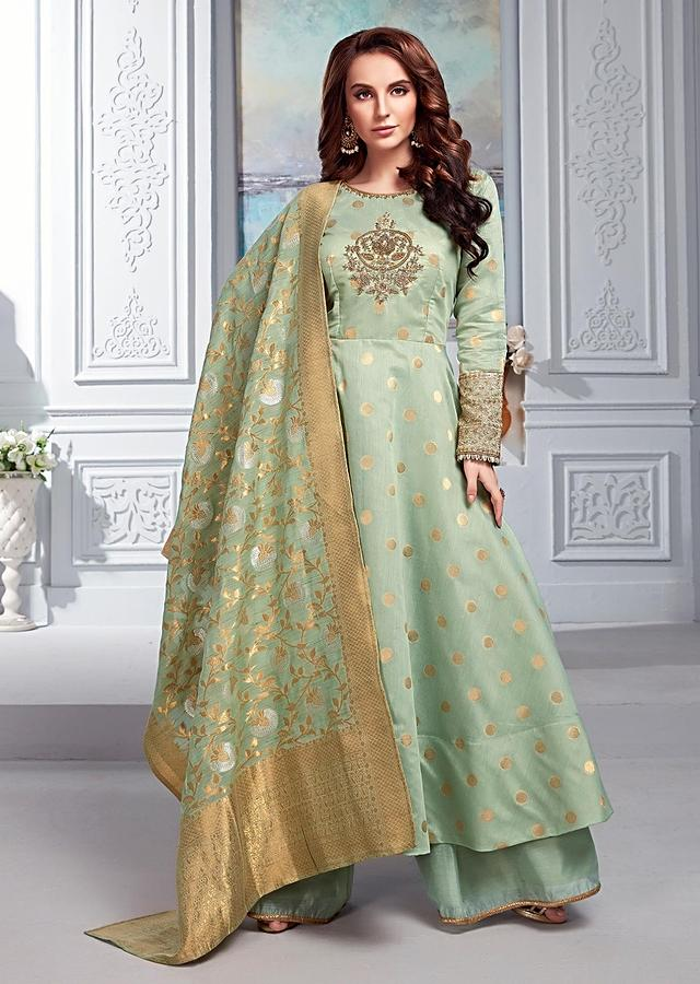 Surf Green Anarkali Suit In Cotton Silk With Weaved Polka Dots And Zardozi Embroidered Floral Motif Online - Kalki Fashion