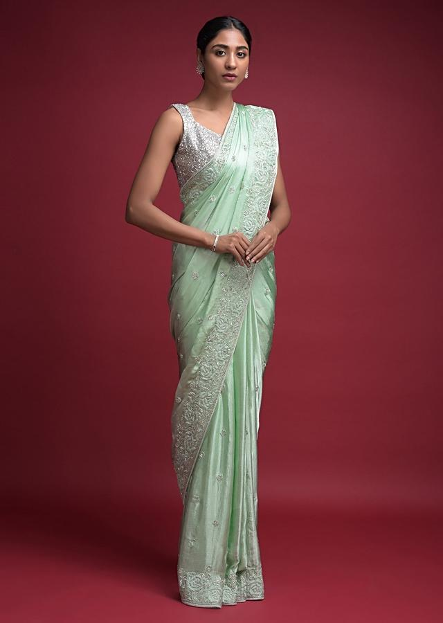 Surf Green Saree In Satin Chiffon With Cut Dana And Resham Embroidered Floral Pattern Online - Kalki Fashion