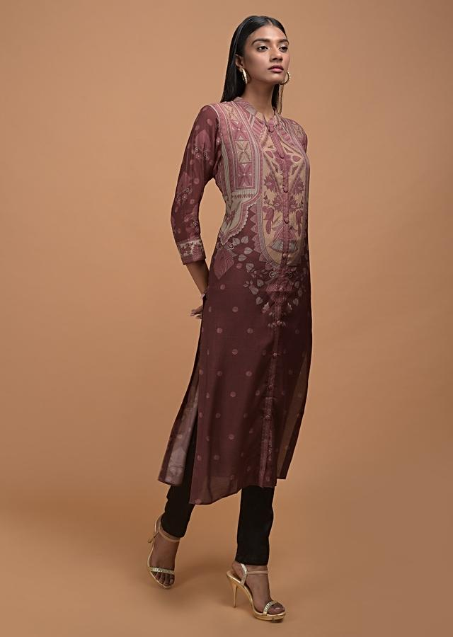 Syrup Brown Kurta In Crepe Adorned With Floral Print Online - Kalki Fashion
