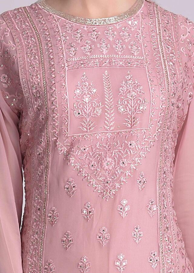 Taffy Pink Sharara Suit In Chiffon With Floral And Mughal Embroidery Work Online - Kalki Fashion