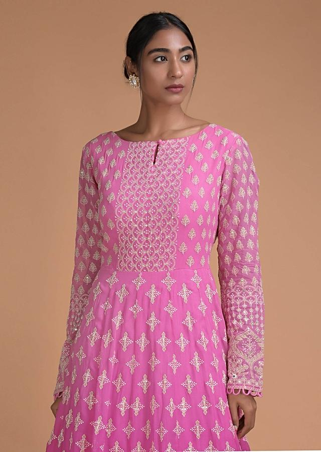 Taffy Pink And Rani Pink Ombre Anarkali Suit In Georgette With Lucknowi Thread Work Online - Kalki Fashion
