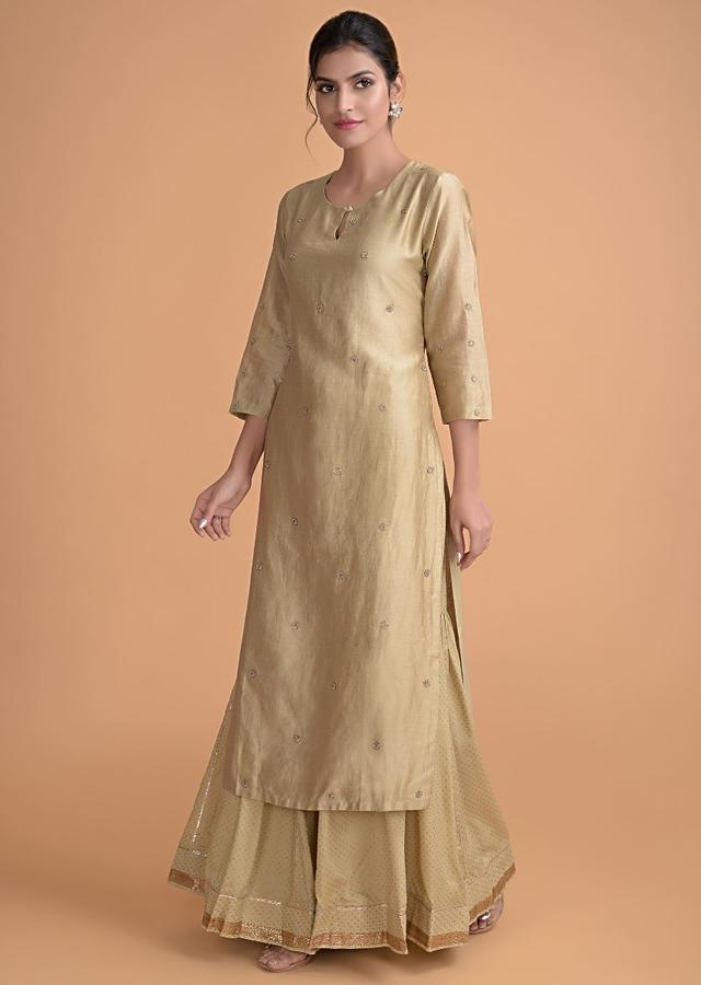 Tan Beige Sharara Suit With Embellished Floral Buttis And Foil Printed Bottoms Online - Kalki Fashion