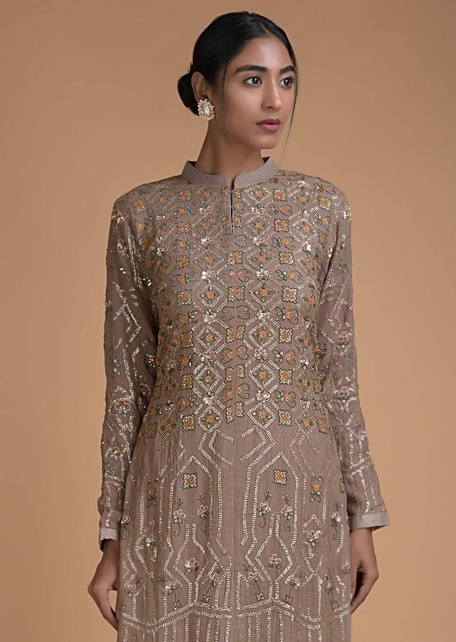 Tan Brown Palazzo Suit With Sequins And Thread Work In Floral And Geometric Pattern Online - Kalki Fashion