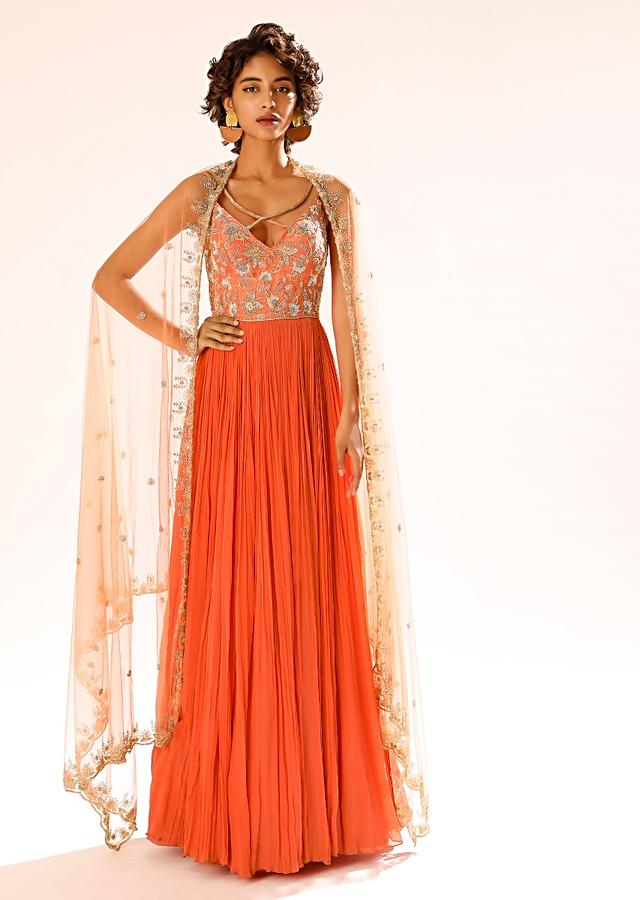 Tangerine Orange Anarkali Suit With Criss Cross Straps And Cut Dana Embroidery In Floral Motifs Online - Kalki Fashion