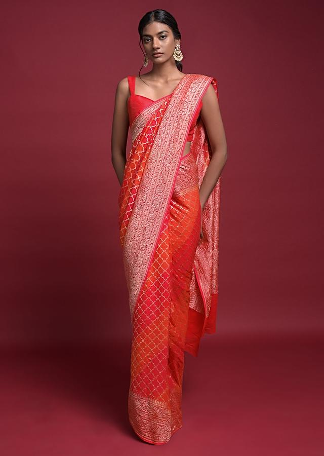 Tangerine Orange And Coral Shaded Saree In Georgette With Weaved Moroccan Jaal Online - Kalki Fashion