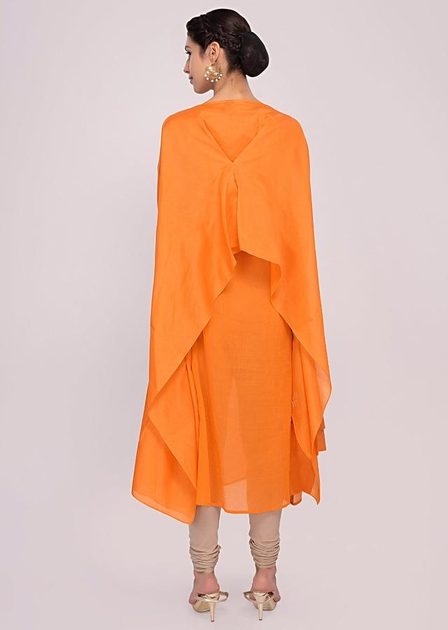 Tangerine Orange Kurti In Cotton With Over Lay Fancy Jacket In Butti Online - Kalki Fashion