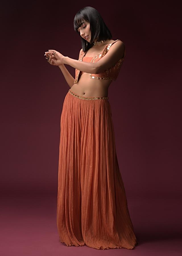 Tangerine Orange Palazzo Suit In Crushed Georgette With Cropped Jacked Hand Embroidered Using Geometric Cut Mirrors Online - Kalki Fashion