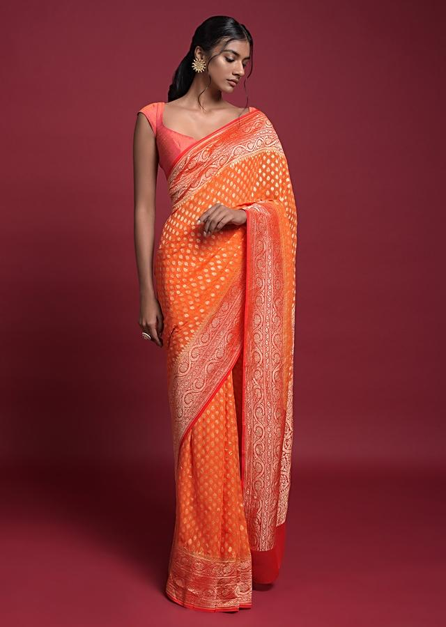 Tangerine Orange Saree In Georgette With Weaved Buttis And Coral Pallu And Border Online - Kalki Fashion