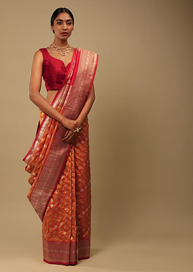 Tangerine Orange Saree In Pure Handloom Silk With Red Woven Border And Two Toned Buttis Along With Unstitched Blouse Online - Kalki Fashion