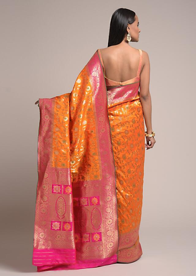 Tangerine Orange Saree In Silk With Woven Floral Jaal And Fuchsia Floral Border Online - Kalki Fashion