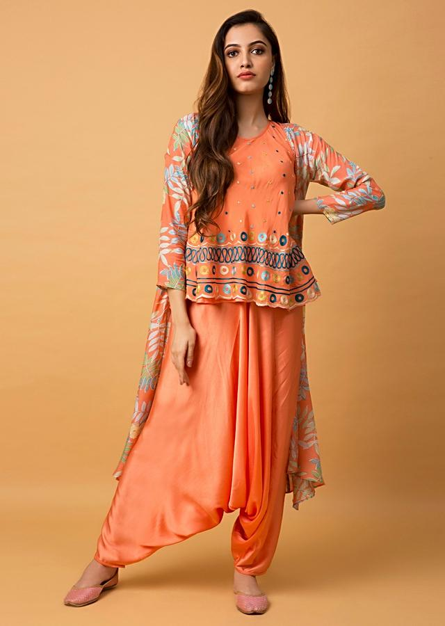 Tangerine Orange Suit With Aari Embroidered Top, Low Crotch Pants And Floral Printed Jacket Online - Kalki Fashion