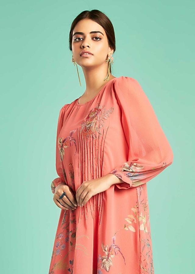 Tango Pink Suit With High Low Hemline And Floral Print