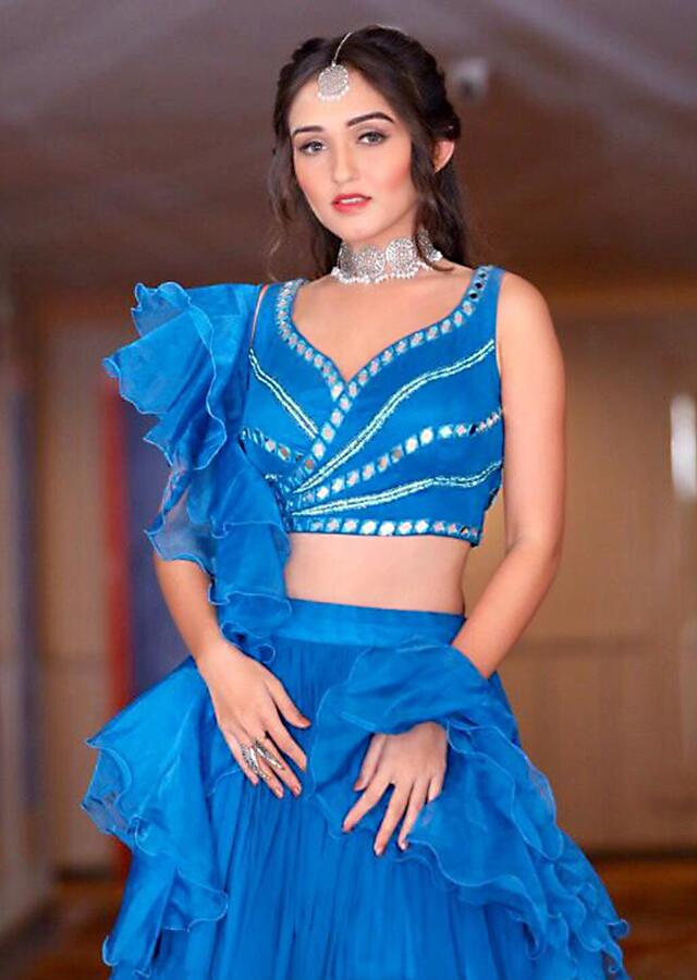 Tanya Sharma in Kalki Azure Blue Ruffle Layered Skirt And Crop Top With Mirror And Ruffled Dupatta