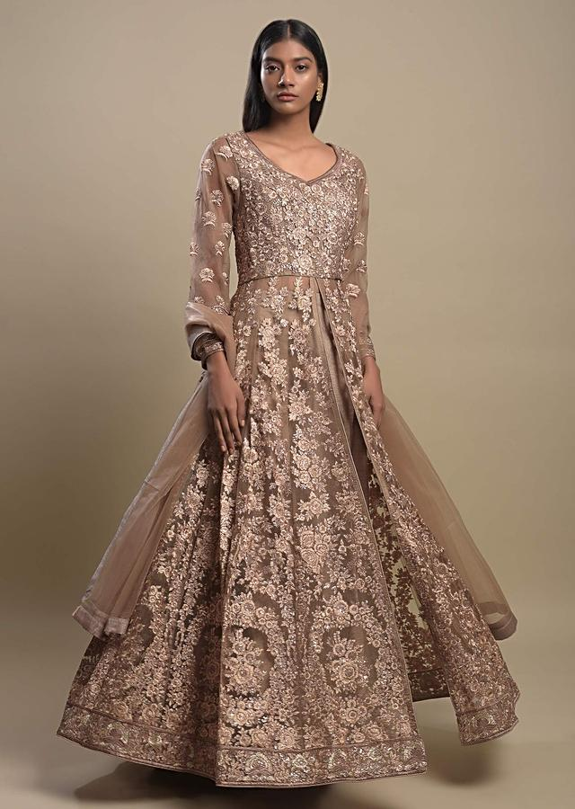Taupe Beige Skirt And Long Jaal Embroidered Anarkali Top With Front Slit Online - Kalki Fashion