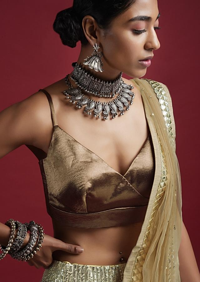 Taupe Blouse In Milano Satin With Spaghetti Straps And Stitched Overlapping Neckline Online - Kalki Fashion