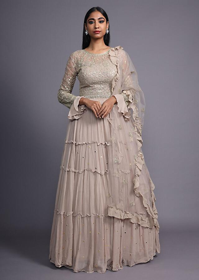 Taupe Brown Anarkali Suit In Georgette With Tiered Silhouette And Zari Embroidered Bodice Online - Kalki Fashion