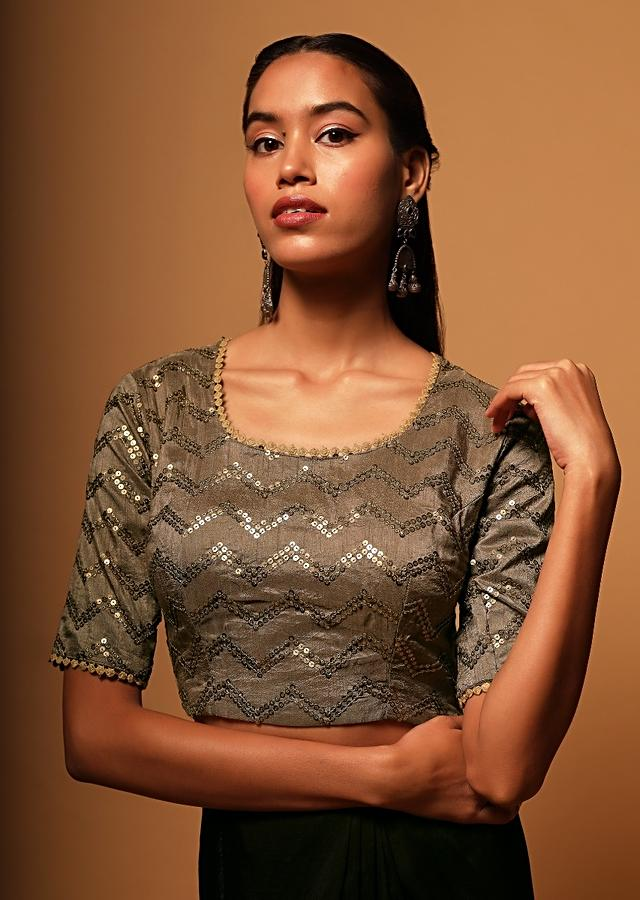 Taupe Brown Blouse In Raw Silk With Sequins Embroidery In Chevron Design Online - Kalki Fashion