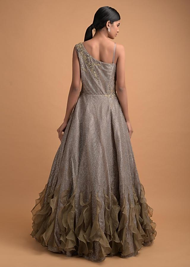 Taupe Brown Gown In Net With Shimmer Stripes And Organza Frill On The Hemline Online - Kalki Fashion